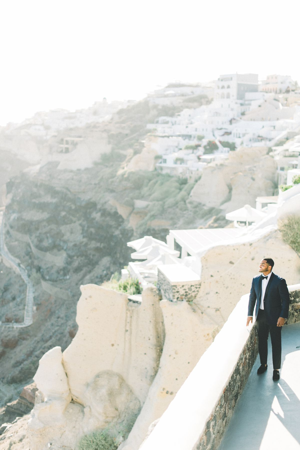 Portrait of groom at Canaves Oia, Santorini