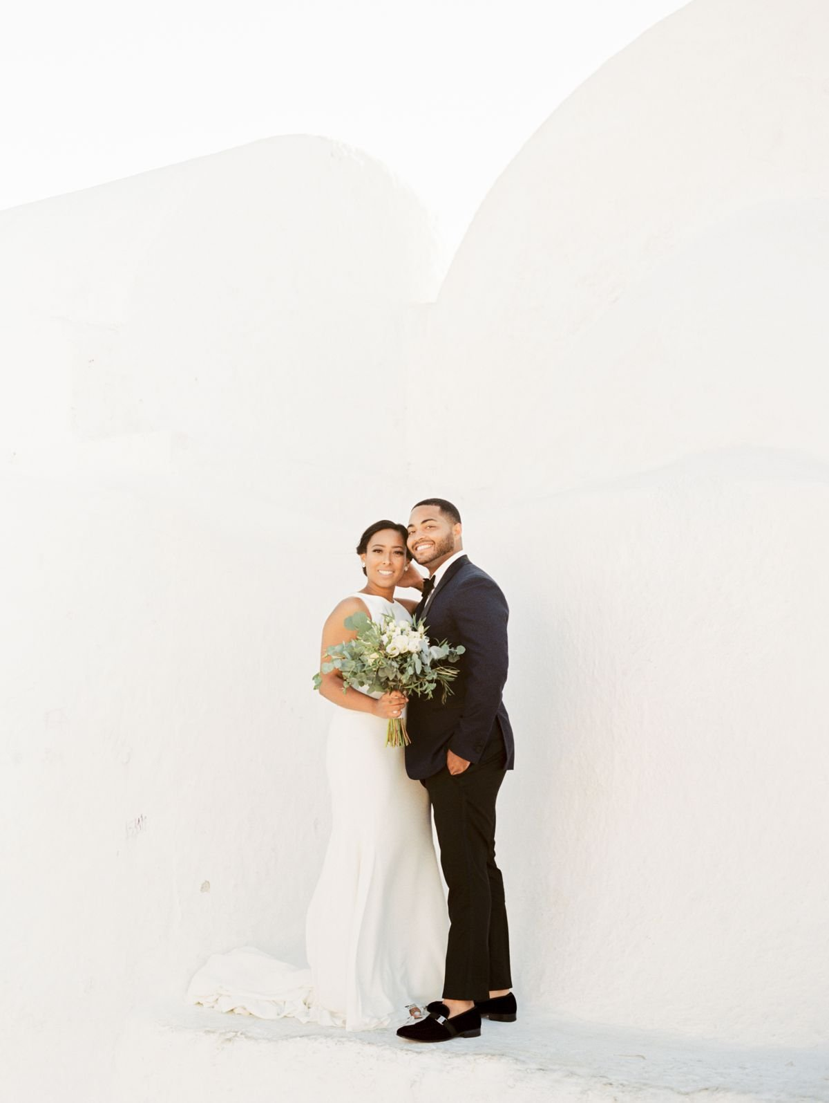 Portrait of bride and groom at Canaves Oia, Santorini