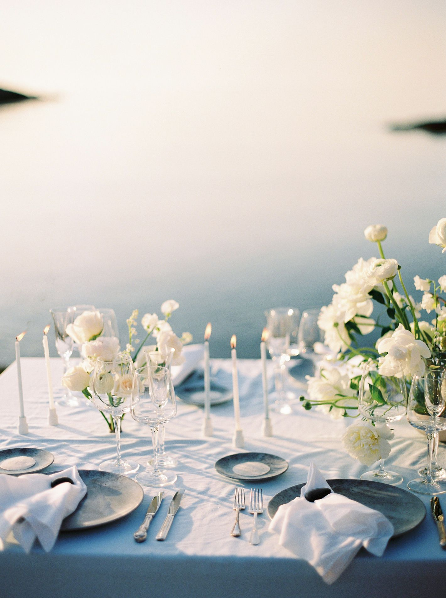 table set up at beach wedding in spetses