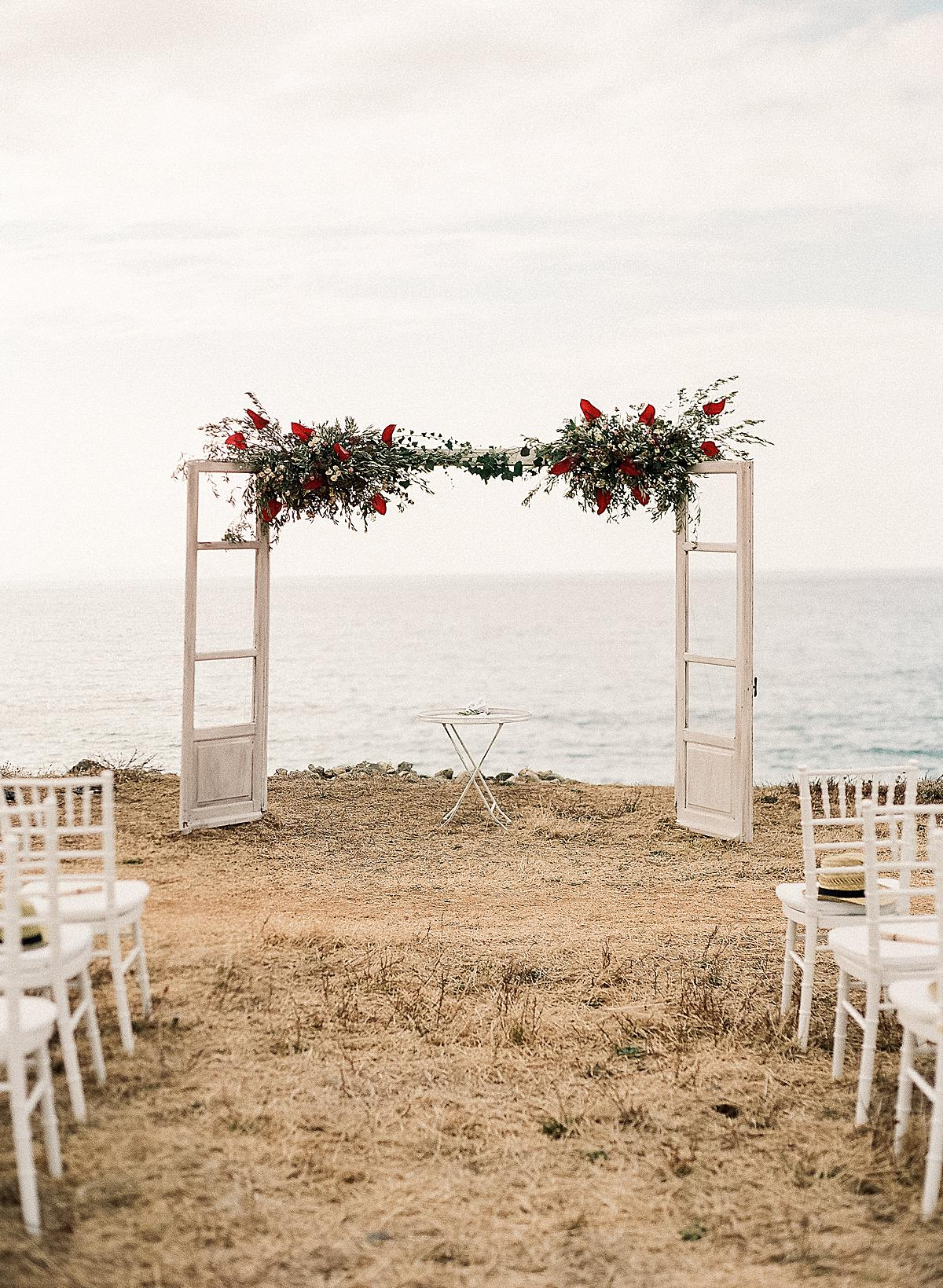 ceremony set up overlooking the cliffs in Creta