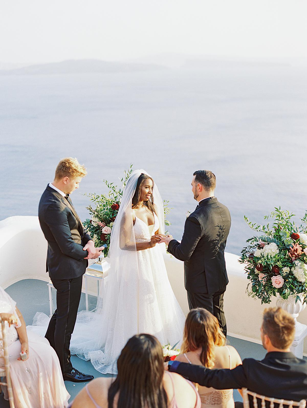 wedding ceremony set up at canaves oia santorini