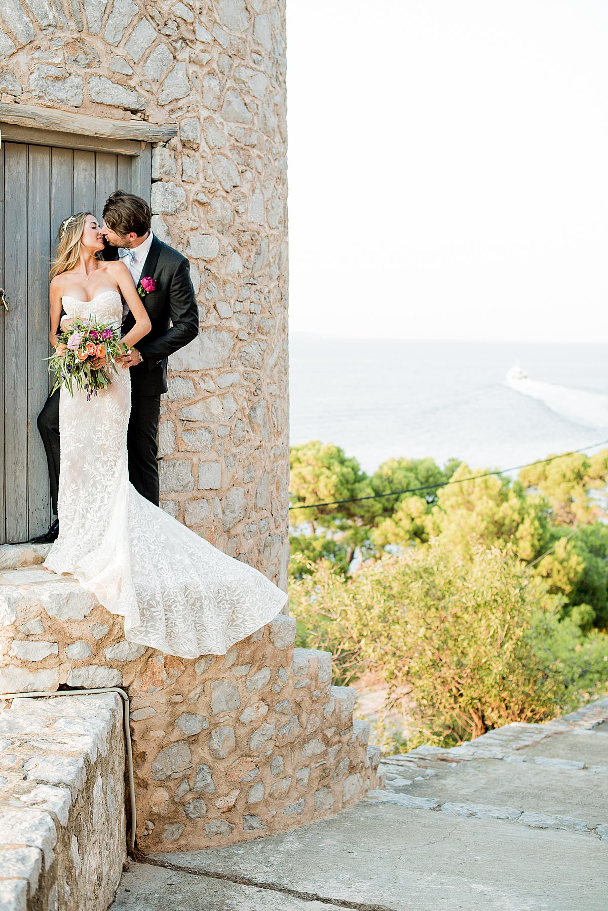 bride and groom during portrait session on Hydra island_2