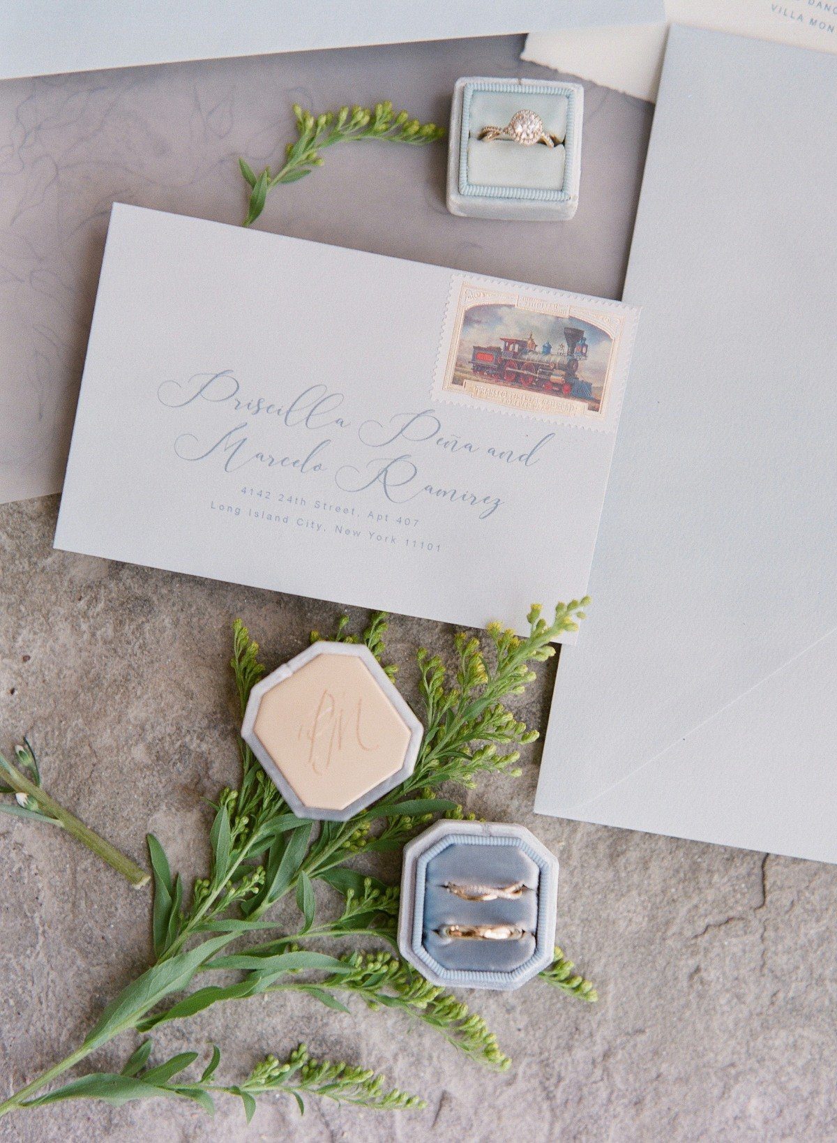 detail shot with wedding stationery and paper goods for a destination wedding in Tuscany by les anagnou