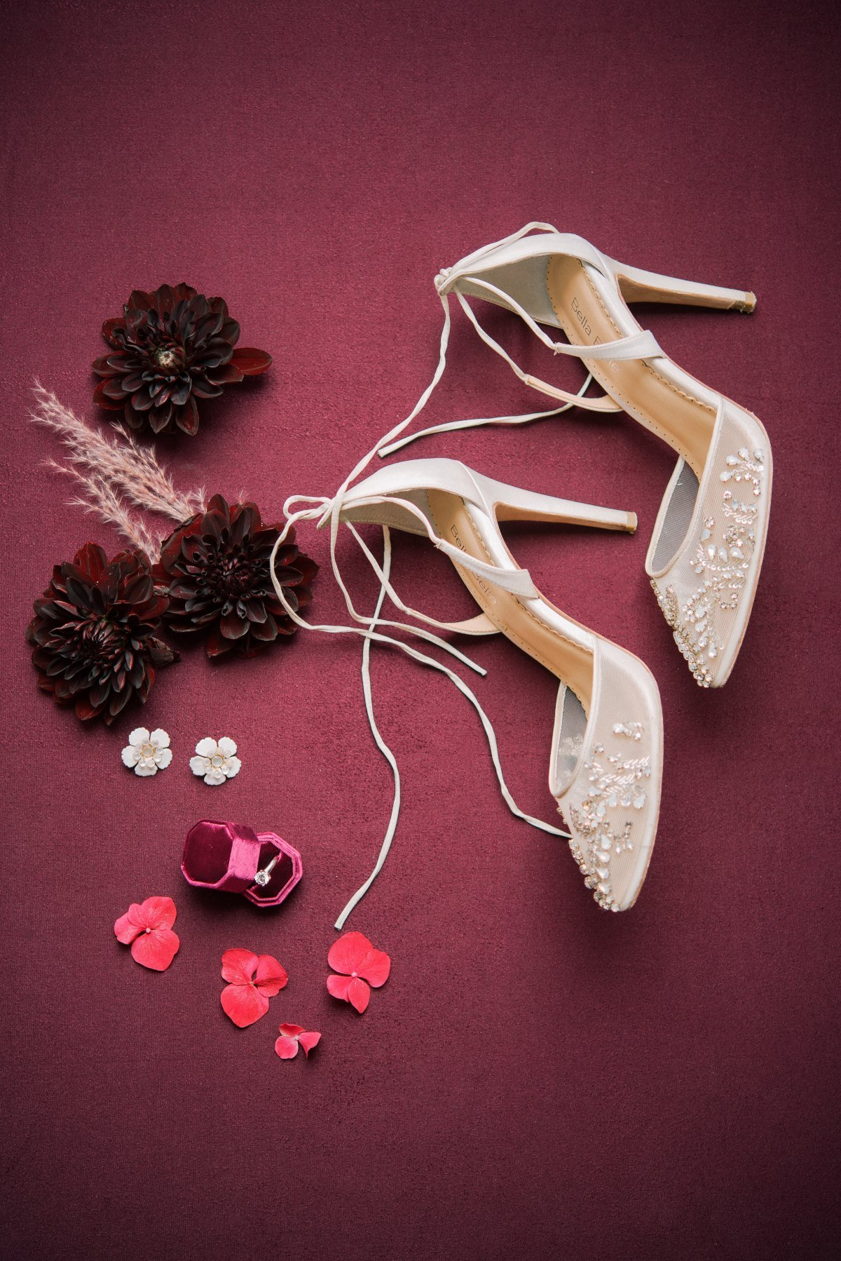 bella belle wedding shoes for a wedding flat lay shot by les anagnou